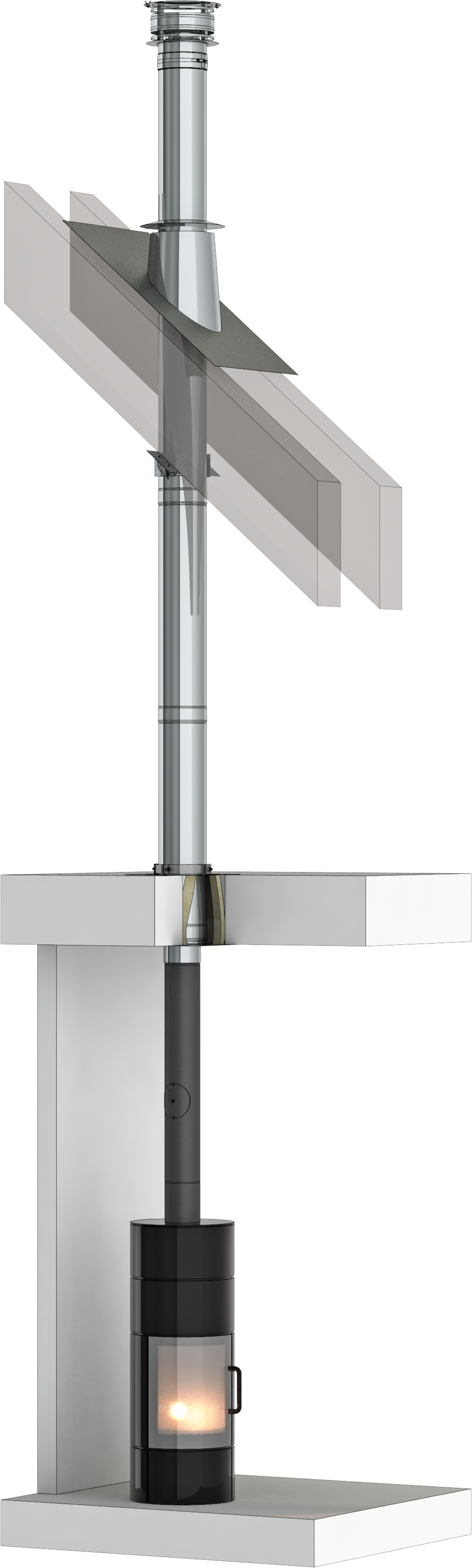 Dubbelwandig rookkanaal - TEC-DW-standaard  - bouwpakket voor binnenshuis - Ø150mm
