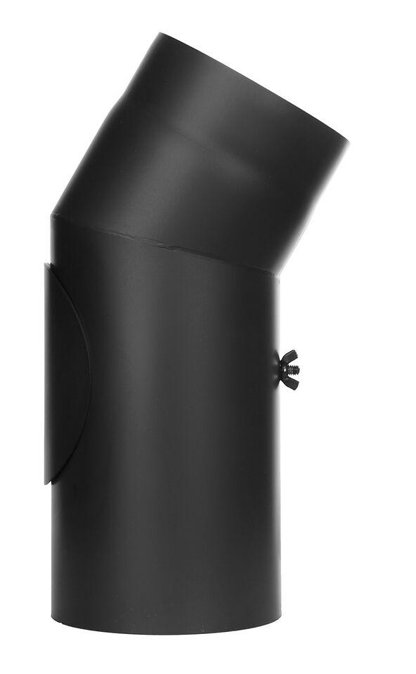 Kachelpijp - bocht 30 ° met inspectiedeur zwart - Jeremias Ferro-Lux