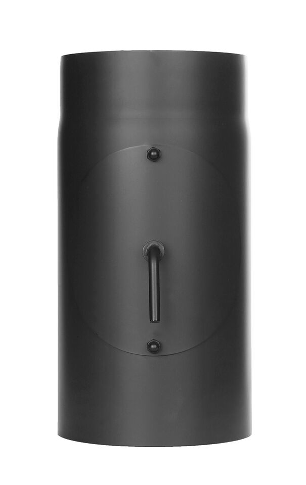 Kachelpijp lengte element 300 mm met trekklep en deur, zwart Jeremias Ferro-Lux