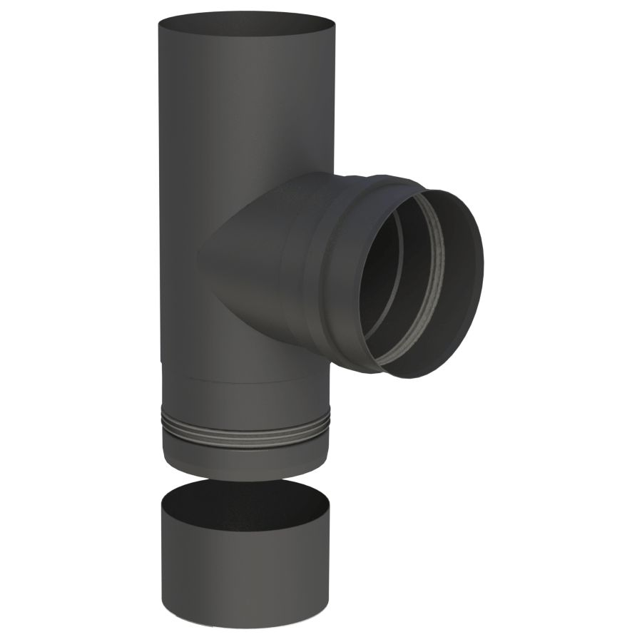 Rookkanaal Pelletkachel - T-Aansluiting 90° met verwijderbare condensaatbak - zwartgeverfd - Tecnovis Pellet-Line