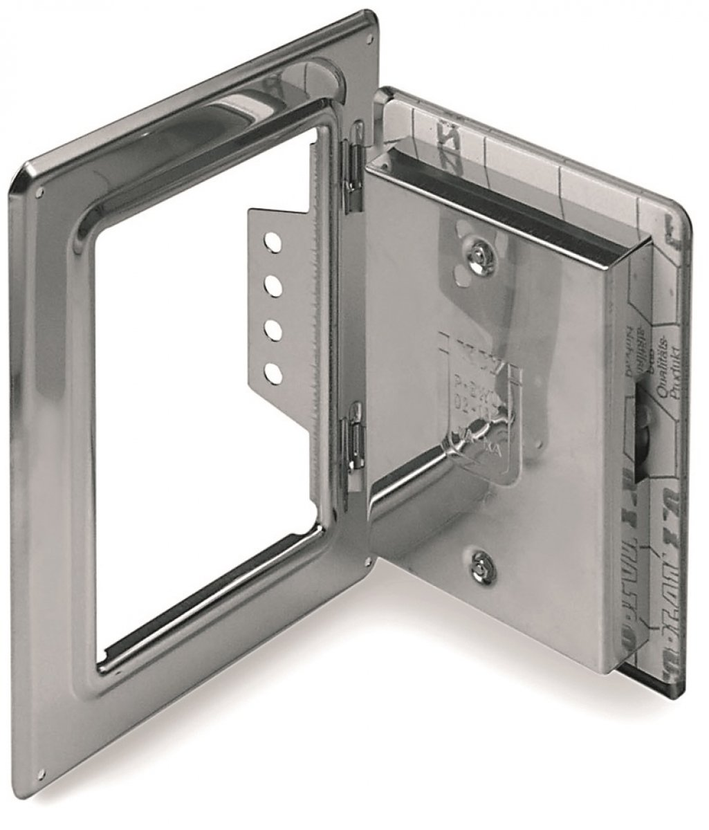 Schoorsteendeur van roestvrijstaal 300 mm x 150 mm met 60 mm kliksluiting – enkelwandig voor Technovis EW-FU