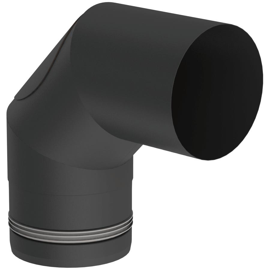 Rookkanaal Pelletkachel - Bocht 90° vast - met onderhoudsluik - zwart - Tecnovis TEC-Pellet