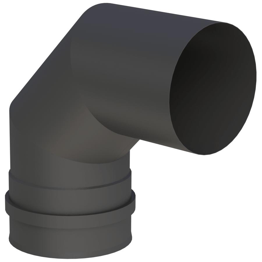 Rookkanaal Pelletkachel - Bocht 90° vast - met dubbele schroefverbinding - zwartgeverfd - Tecnovis TEC-Pellet