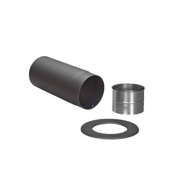 Kachelpijp met bocht (zijlengte 450/700 mm) - Zwarte set - Tecnovis Tec-Stahl