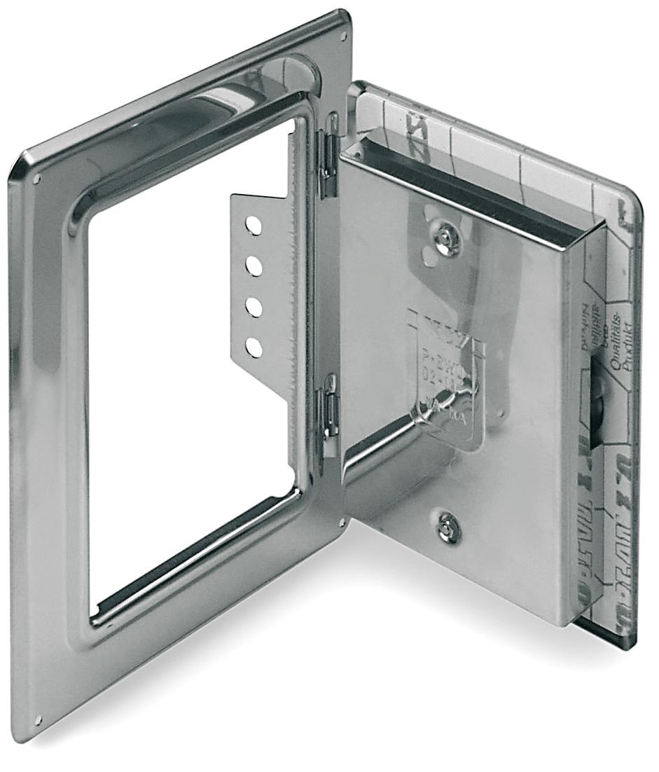 Schoorsteendeur van roestvrijstaal 300 mm x 200 mm met 50 mm kliksluiting voor Technovis EW-FU