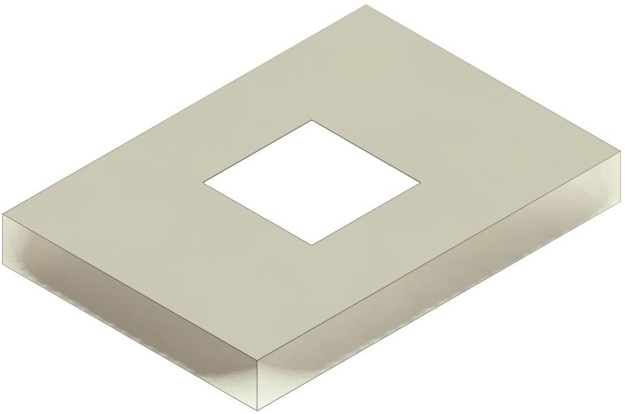 Schoorsteenafdekplaat, vierkant, met opening, zonder insteekkanaal