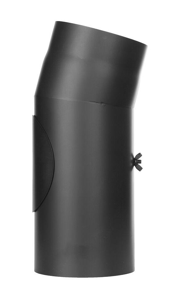 Kachelpijp - bocht 15 ° met inspectiedeur zwart - Jeremias Ferro-Lux