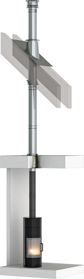 Dubbelwandig rookkanaal - TEC-DW-standaard - bouwpakket voor binnenshuis - Ø130mm