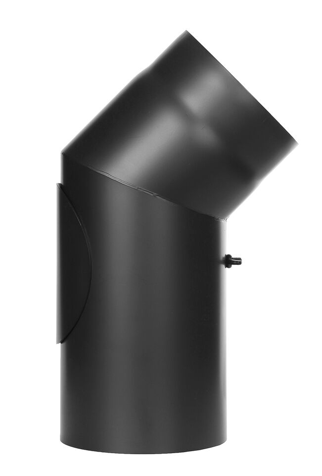 Kachelpijp - bocht 45 ° met inspectiedeur zwart - Jeremias Ferro-Lux
