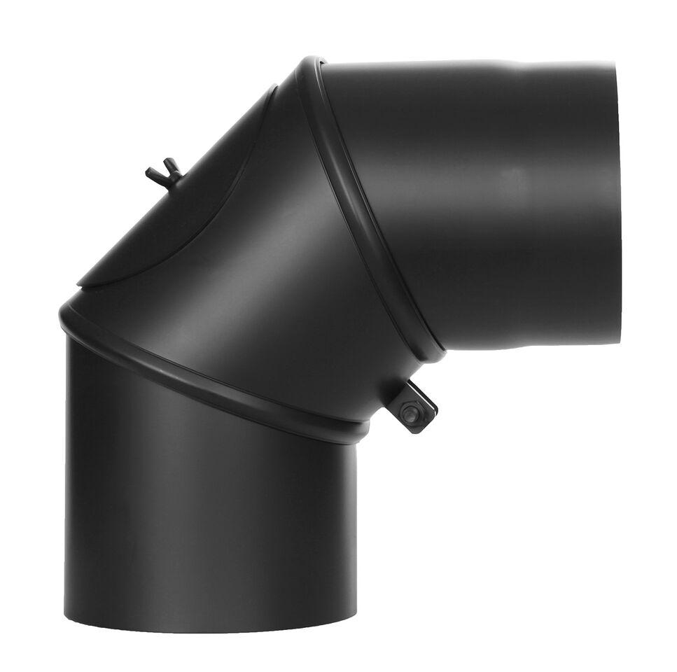 Kachelpijp - Bocht draaibaar 0-90 ° met deur zwart - Tecnovis Tec-Stahl