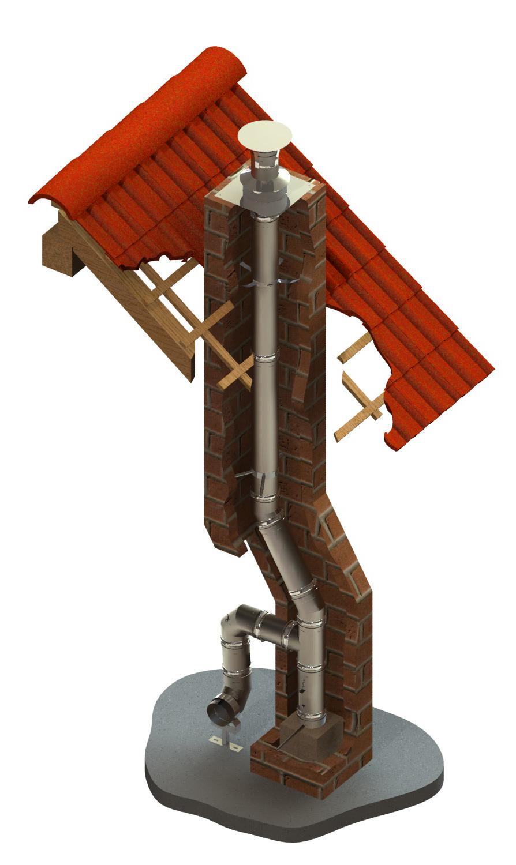 Rookkanaal voor schoorsteenrenovatie - enkelwandig - bouwpakket Ø 130 mm - Tecnovis TEC-EW-CLASSIC