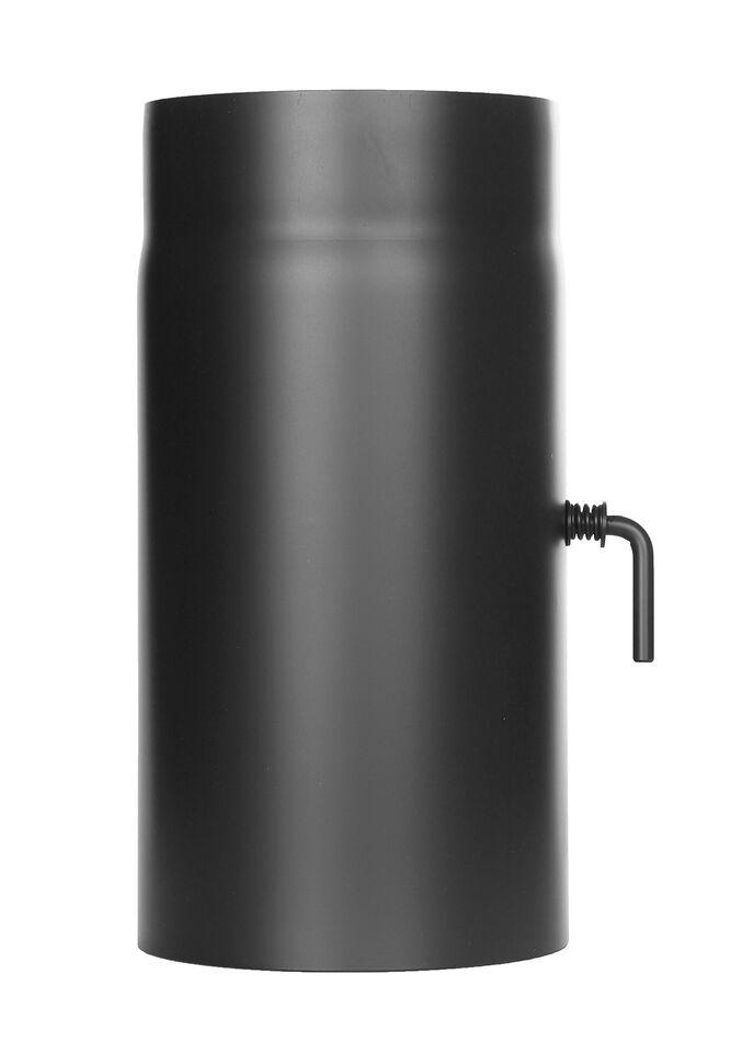 Kachelpijp lengte element 300 mm met trekklep, zwart Jeremias Ferro-Lux