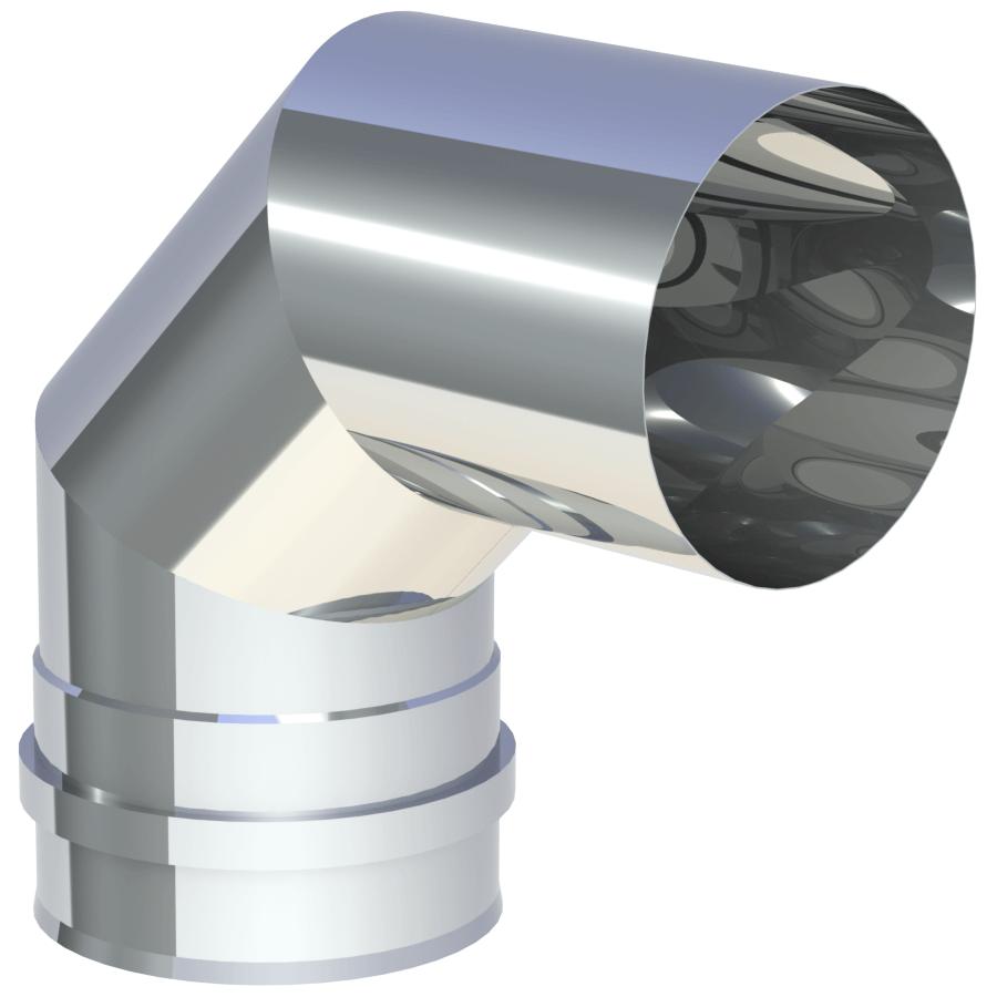 Rookkanaal Pelletkachel - Bocht 90° vast - met dubbele schroefverbinding - ongelakt - Tecnovis TEC-Pellet