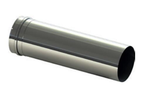Roestvrijstalen rookkanaal L = 500 mm V2A - Externe luchttoevoersysteem
