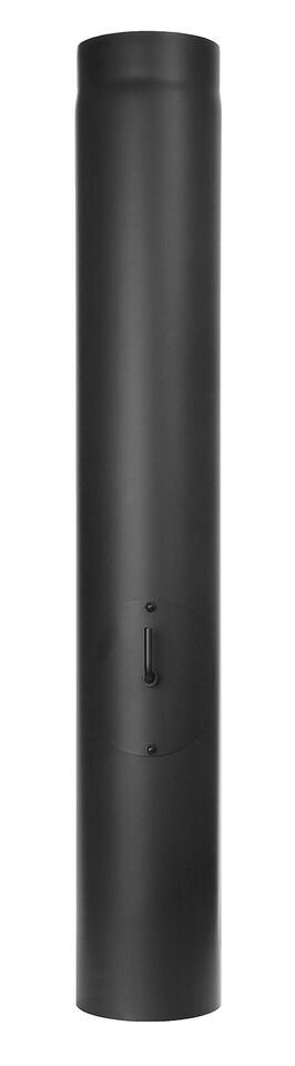 Kachelpijp lengte element 1000 mm met trekklep, condenskraag, deur en luchttoevoer, zwart - Tecnovis Tec-Stahl