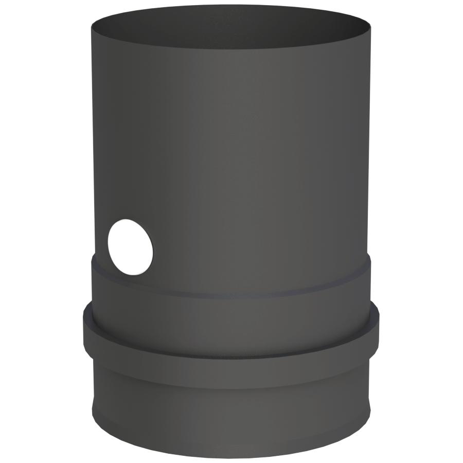 Rookkanaal Pelletkachel - Ketelaansluiting met schroefverbinding incl. ventiel - zwart geverfd - Tecnovis Pellet-Line