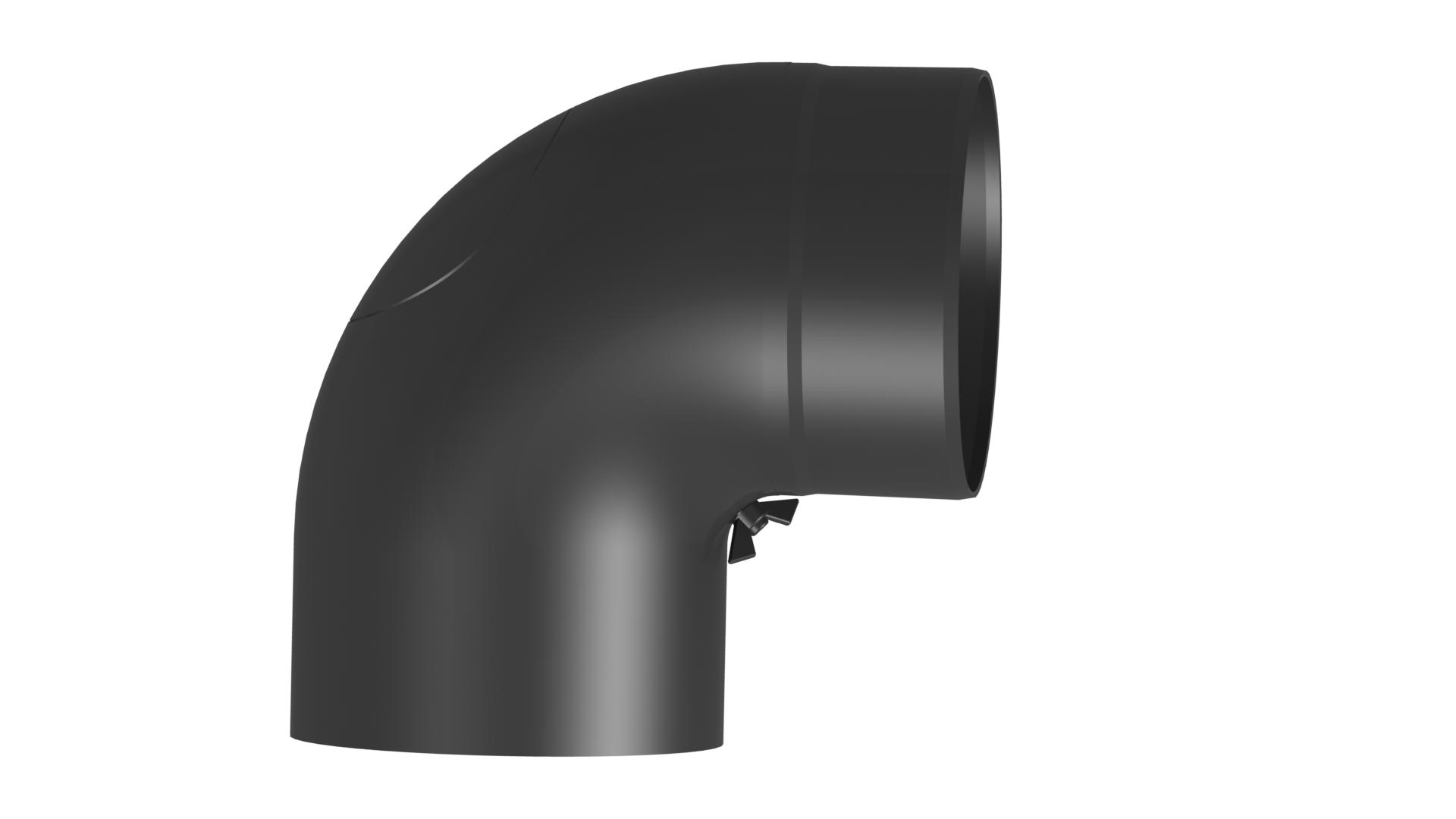 Kachelpijp – Bocht met volledige boog 90 ° met inspectiedeur - Diameter: 150 mm zwart - Jeremias Ferro-Lux