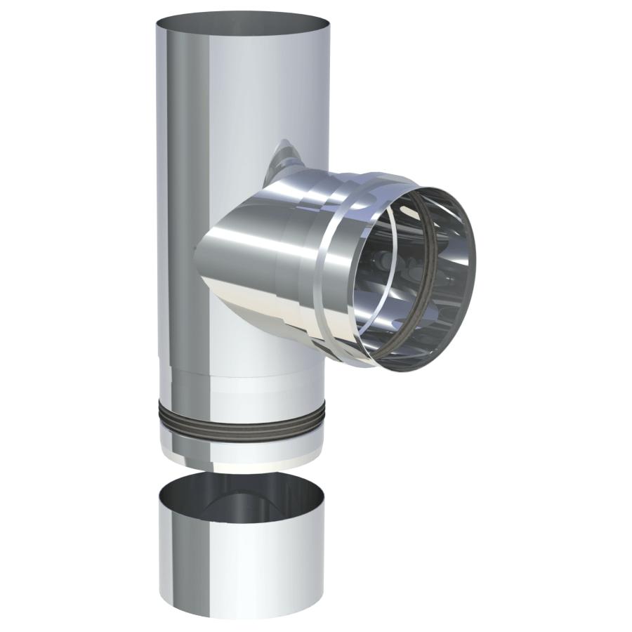 Rookkanaal Pelletkachel - T-Aansluiting 90° met uitneembare condensaatbak - ongelakt - Tecnovis Pellet-Line