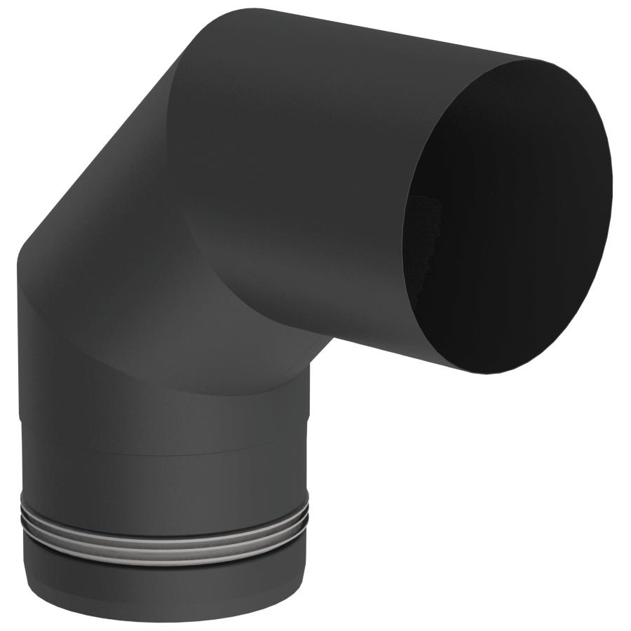 Rookkanaal Pelletkachel - Bocht 90° vast - zwartgeverfd - Tecnovis TEC-Pellet