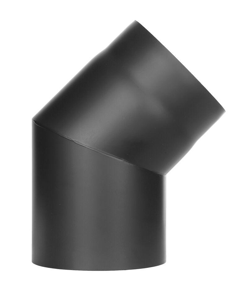 Kachelpijp - bocht 45 ° zonder inspectiedeur zwart - Jeremias Ferro-Lux