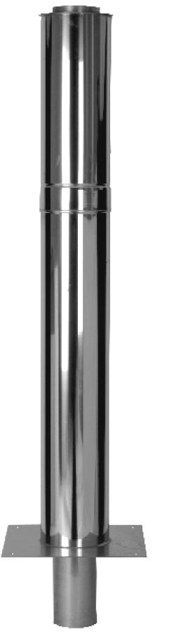 Schoorsteen verlengstuk - dubbelwandig - effectieve hoogte van 1000 mm