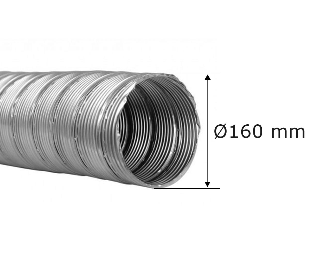 Flexibele rookkanaal enkelwandig Ø 160 mm,  Roestvrijstaal