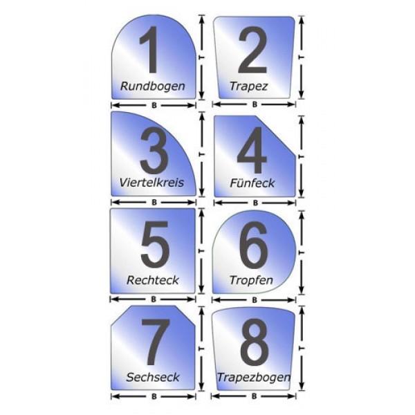 Funkenschutz Glasplatte in verschiedenen Formen