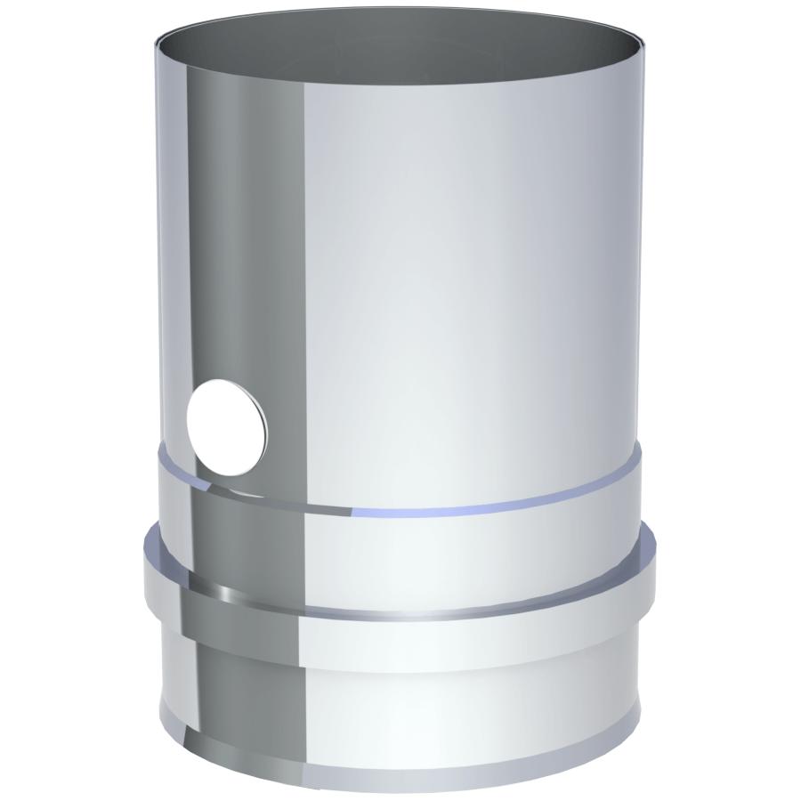 Rookkanaal Pelletkachel - Ketelaansluiting met schroefverbinding incl. ventiel - ongelakt - Tecnovis TEC-Pellet