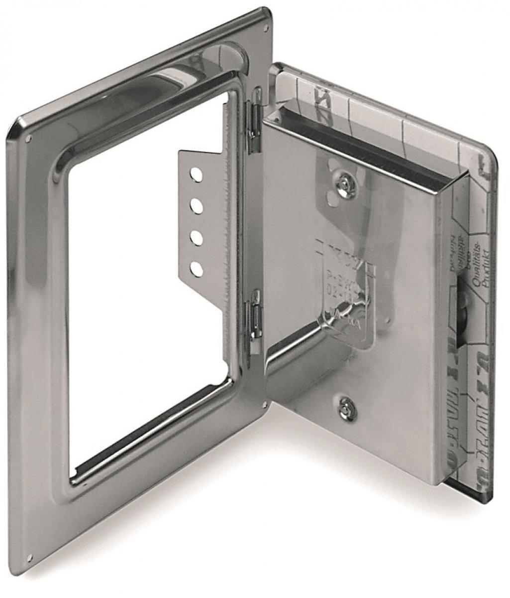 Schoorsteendeur van roestvrijstaal 210 mm x 140 mm met 60 mm kliksluiting - enkelwandig voor Tecnovis TEC-EW-Classic