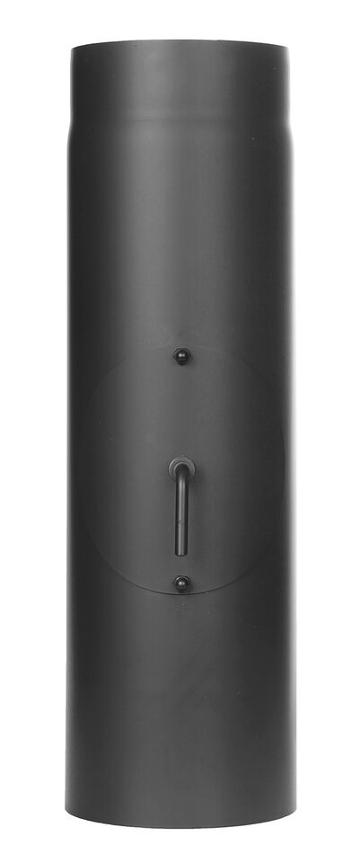 Kachelpijp lengte element 500 mm met trekklep, condenskraag en deur , zwart - Tecnovis Tec-Stahl