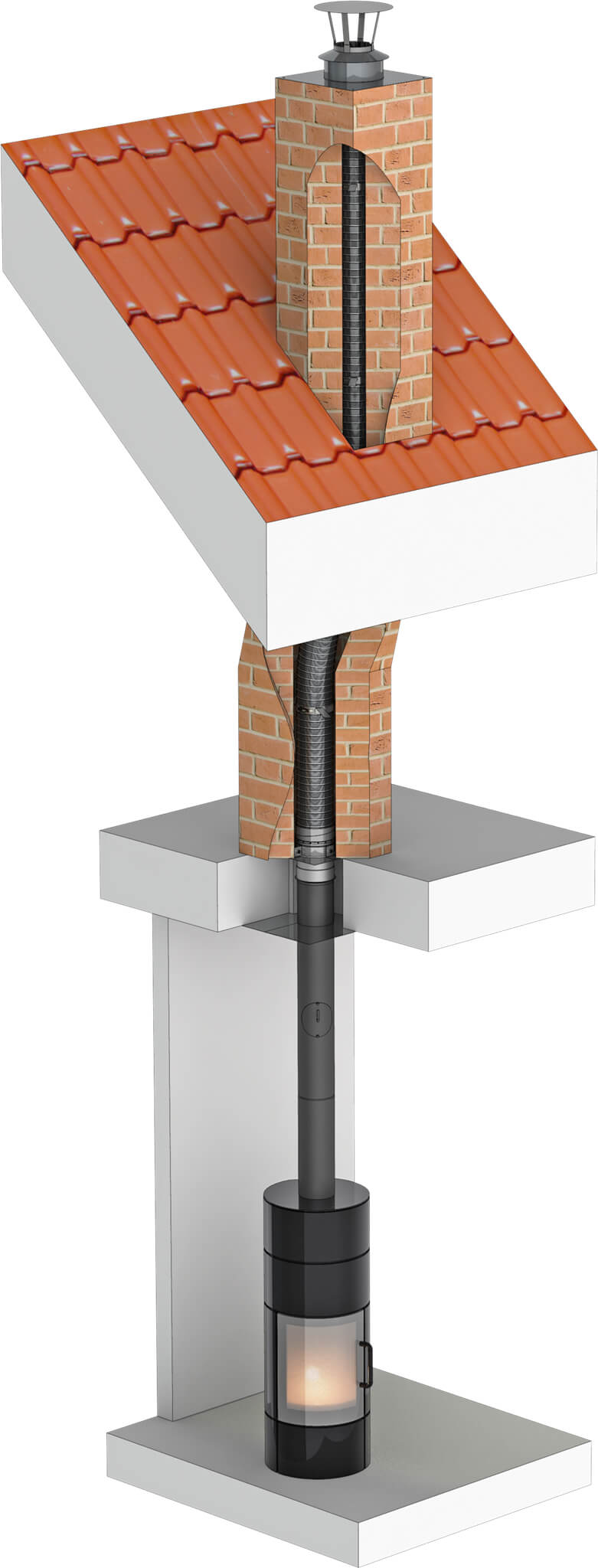 Dubbelwandige flexibele roestvrijstalen rookkanaal - renovatie van de huidige schoorsteen - Ø150 mm