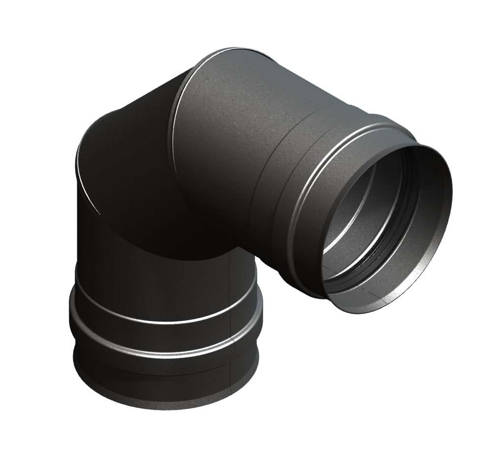 Bocht 90° vast, met dubbele schroefverbinding, zwartgeverfd
